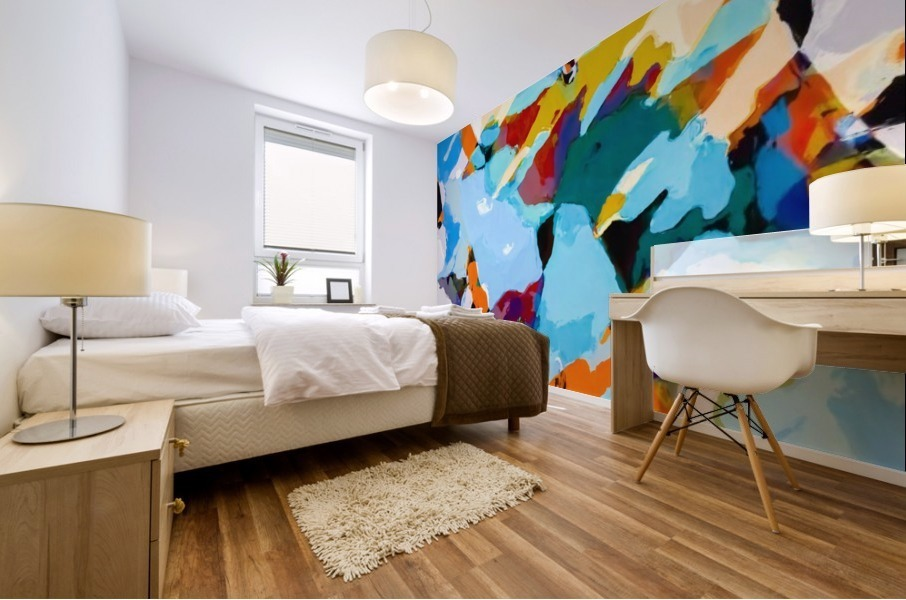 painting texture abstract in blue orange green yellow Mural print