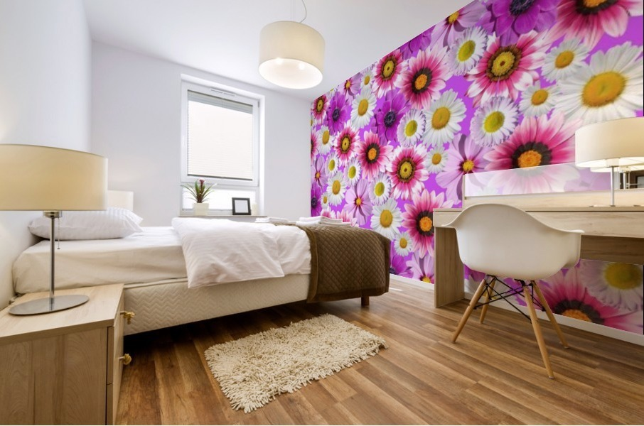 Beautiful colourful flower blossom flower background design floral home decor decoration  Mural print