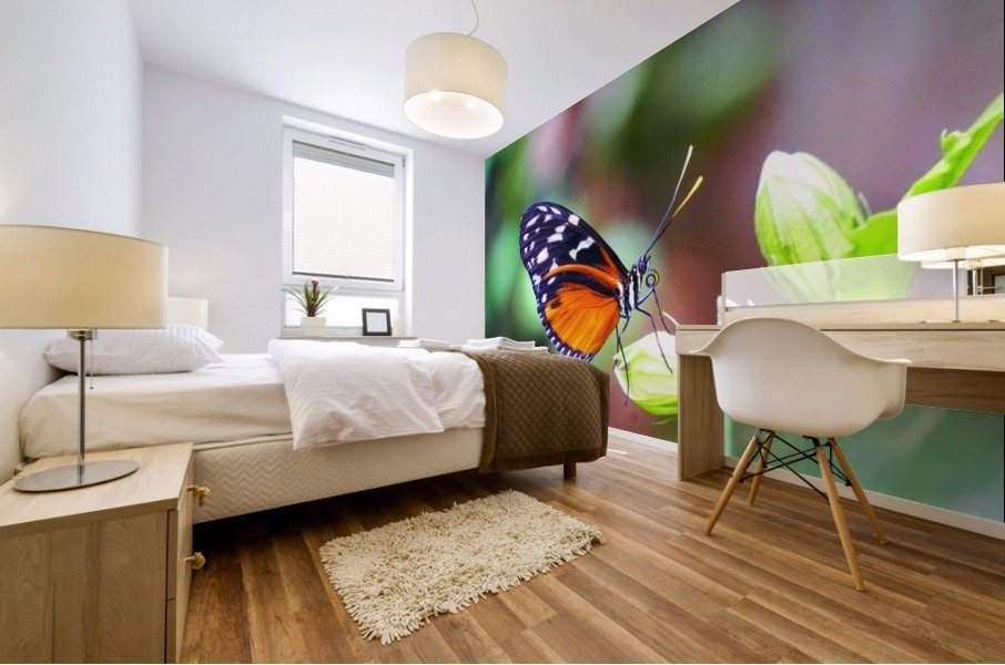 Monarch on a Bud Mural print