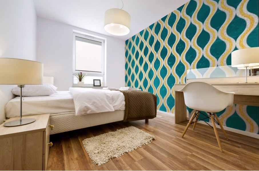 Gold - Turquoise pattern I Mural print