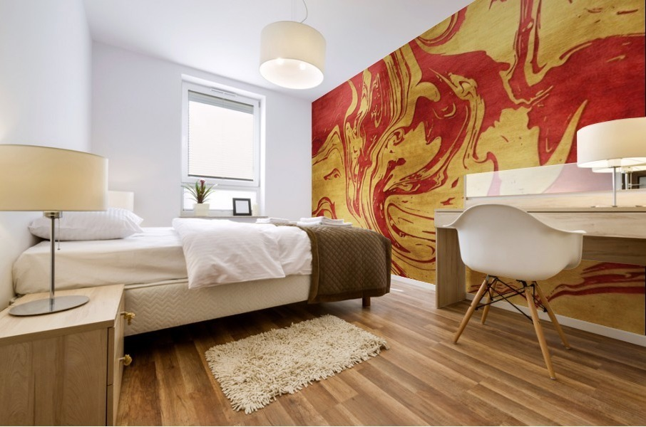 Red Dragon Marble Mural print