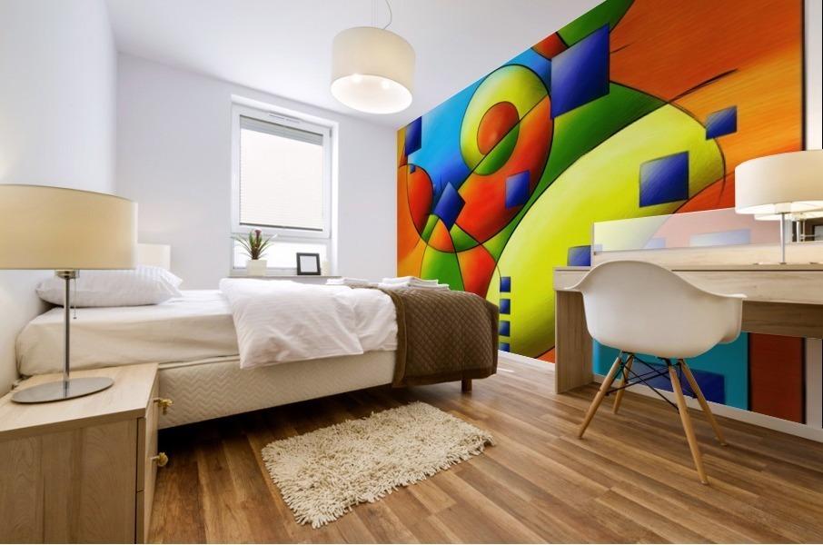 Fantisimella - colourful birdy abstract Mural print