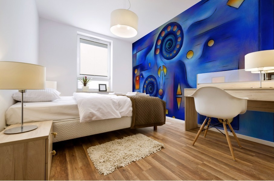 Grefenorium - blue spiral world Mural print