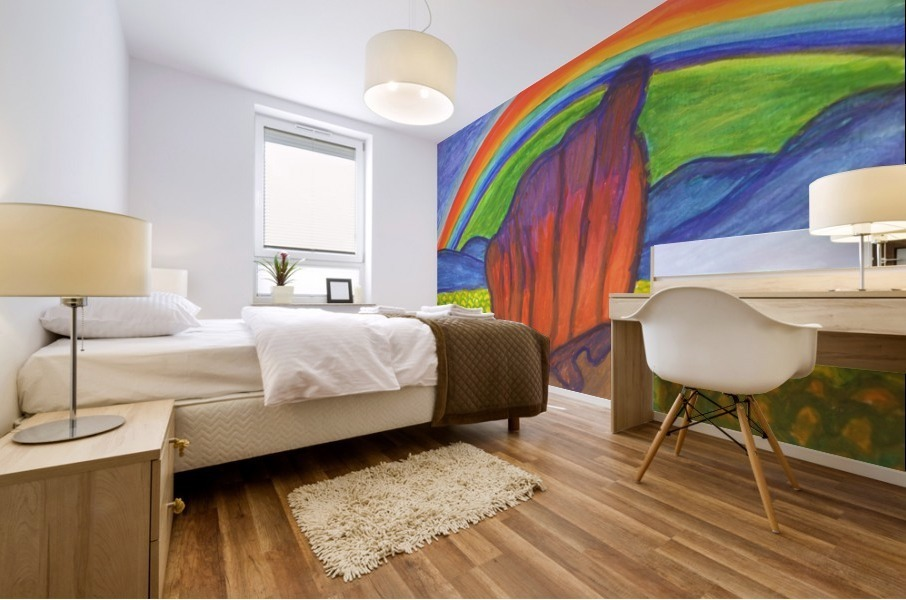 Mystical rock under the rainbow Mural print