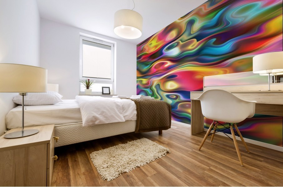 Abstract Colorful Waves Mural print