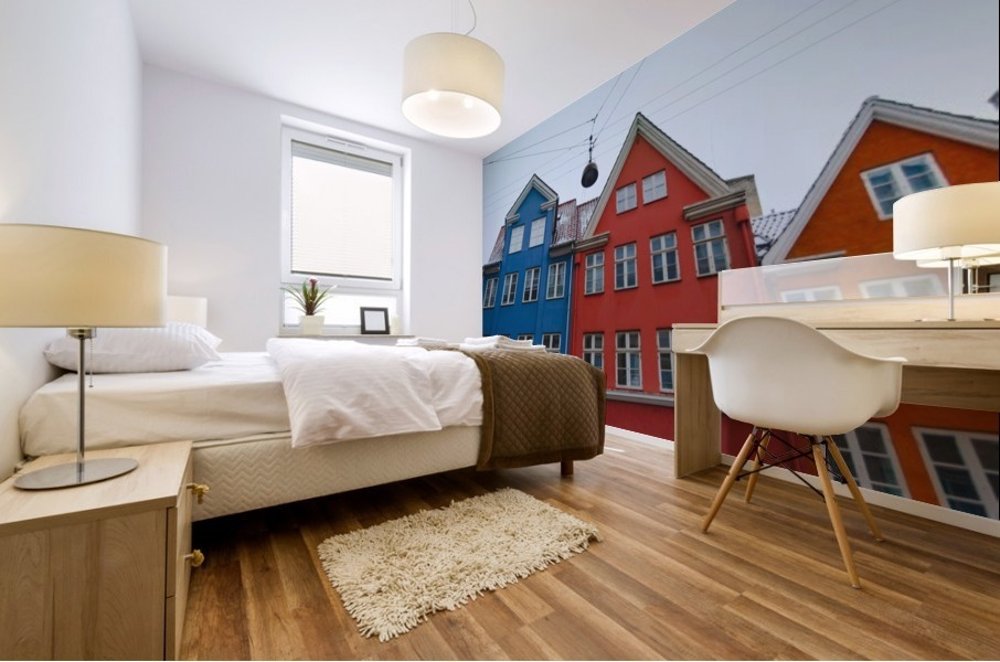 The red and blue house in Copenhagen Mural print