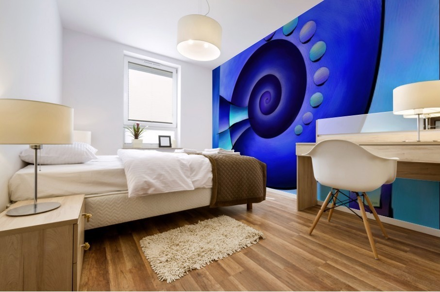 Escanissimera - endlessly limited blue spiral snail Mural print