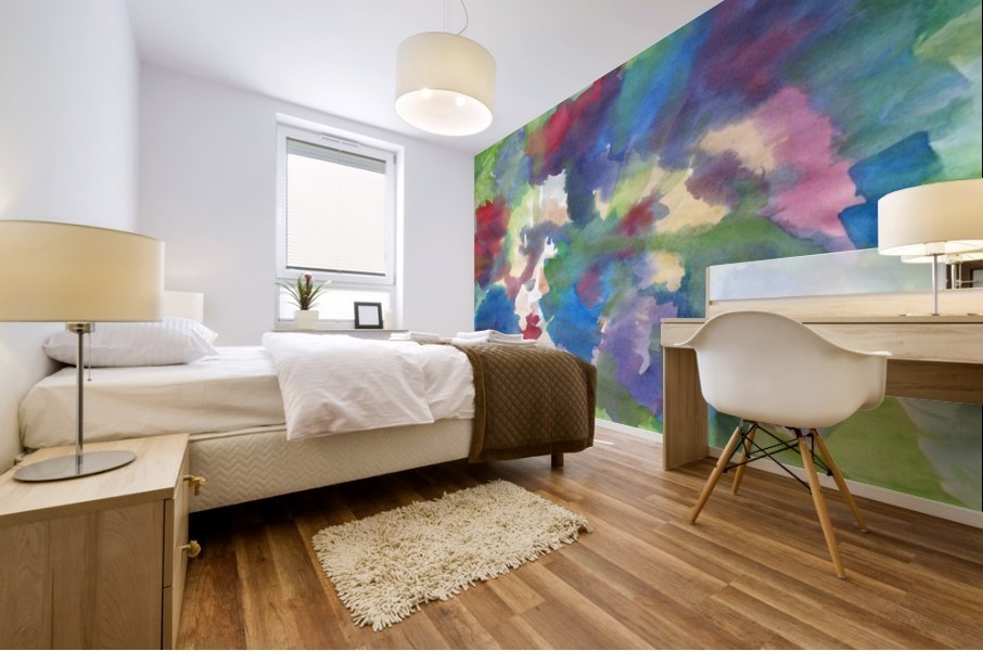 Watercolor abstraction with a blurred floral pattern Mural print