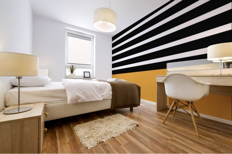 Black & White Stripes with Honey Patch Mural print