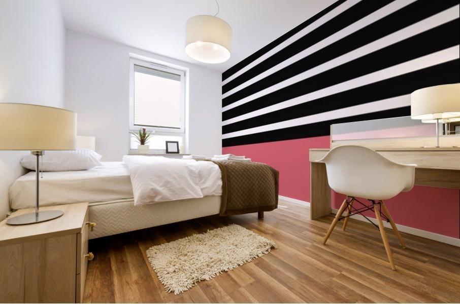 Black & White Stripes with Bitter Sweet Patch Mural print
