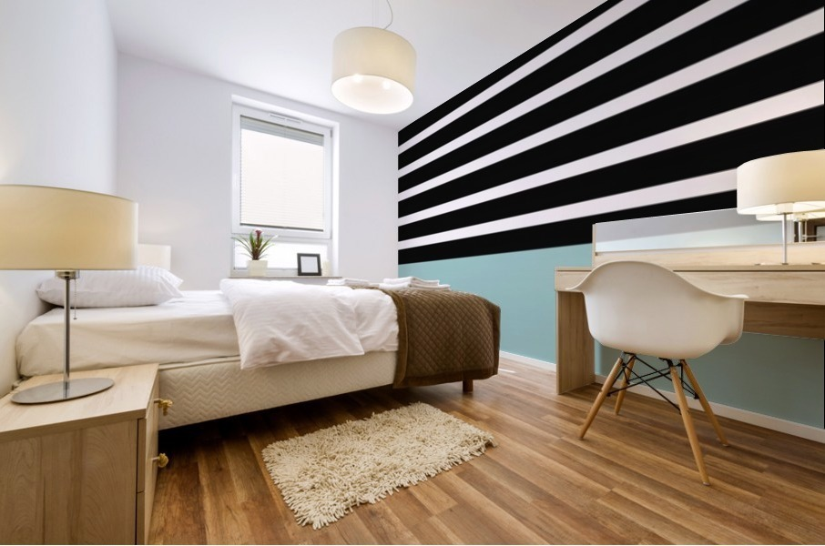 Black & White Stripes with Mist Patch Mural print