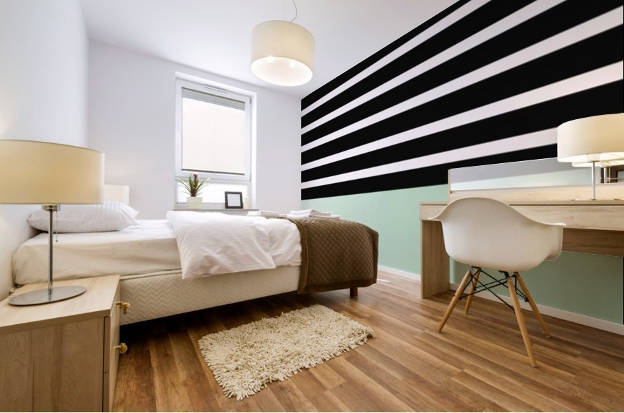 Black & White Stripes with Green Patch Mural print