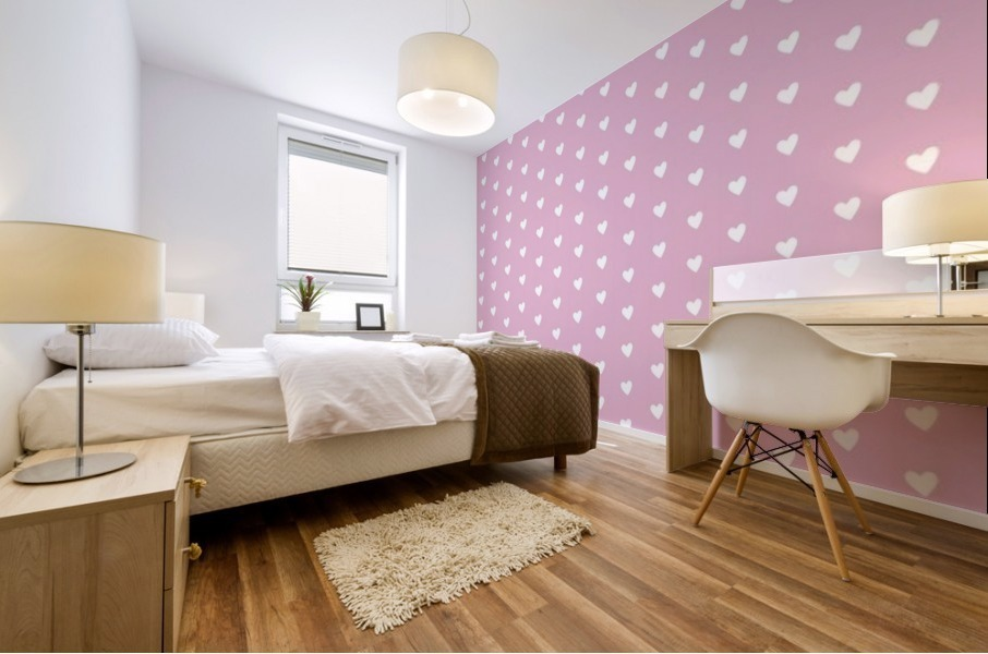 Sweet Lilac Heart Shape Pattern Mural print