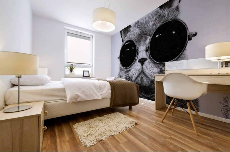 The Cat with glasses Mural print