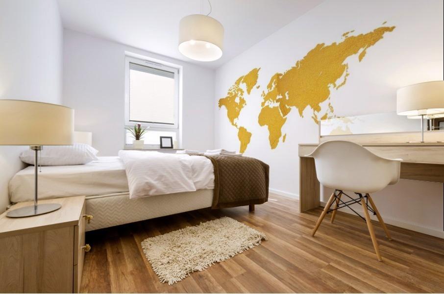 Golden World Map - White Background Mural print