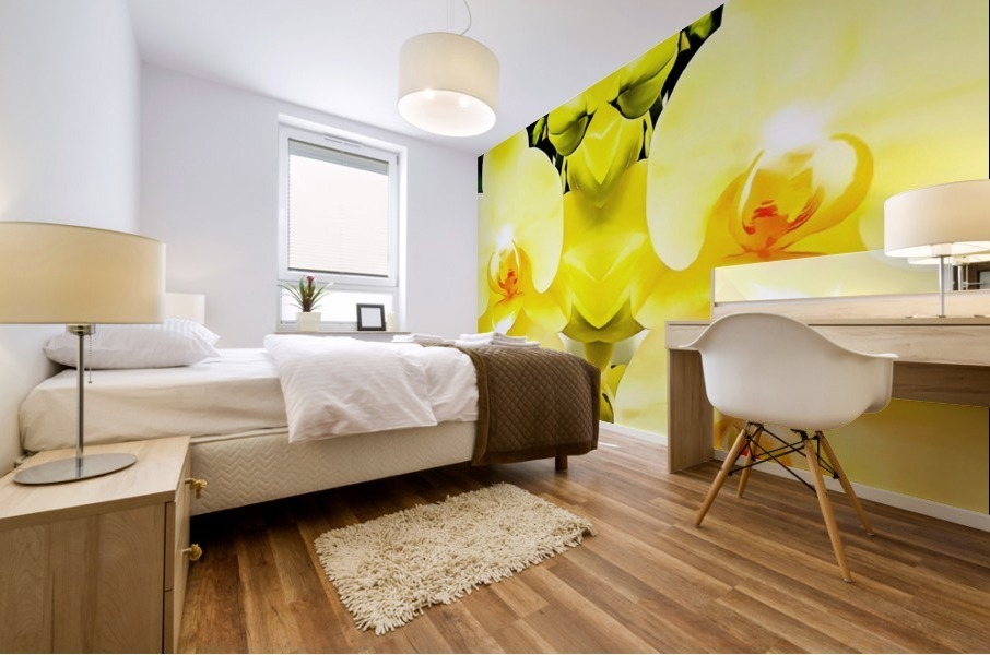 Yellow Orchid Pattern Mural print