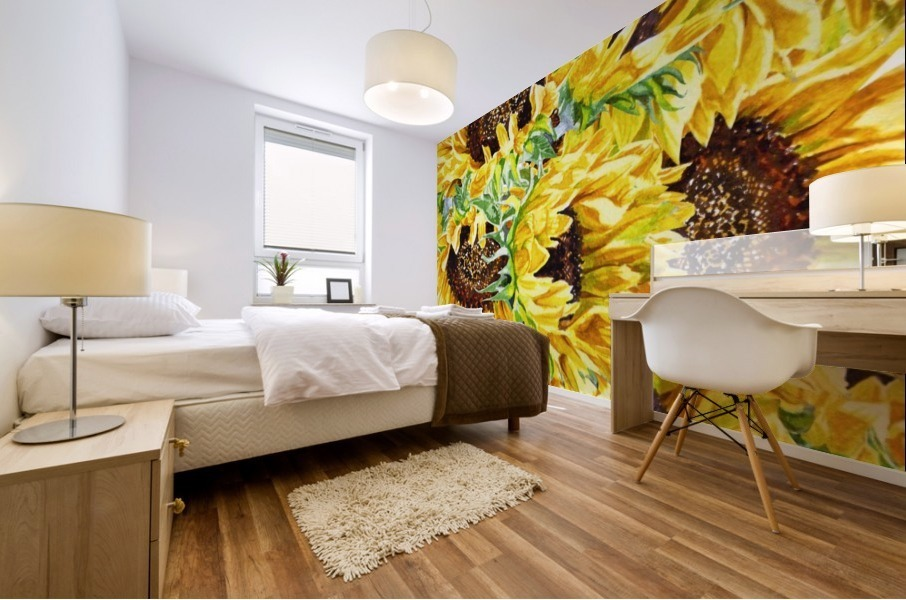 The Filed Of Watercolor Sunflowers Pattern Mural print