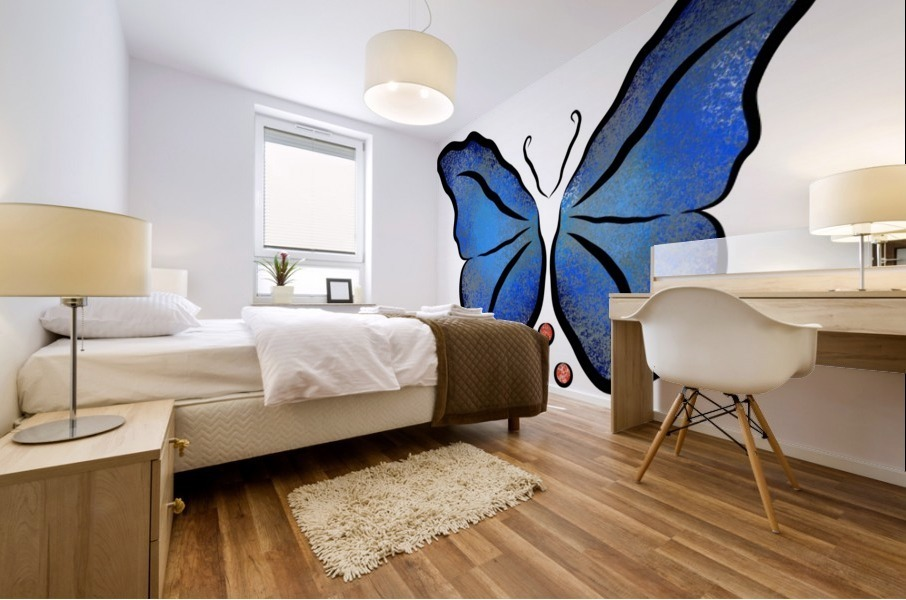 Deonioro - deep blue night butterfly with pearls Mural print