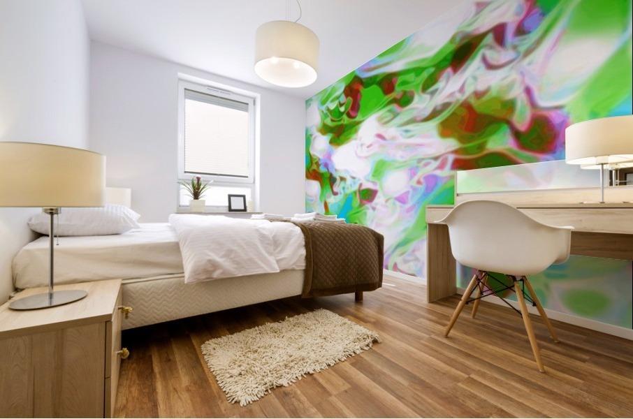 Green Glass Window - multicolor green abstract swirl wall art Mural print