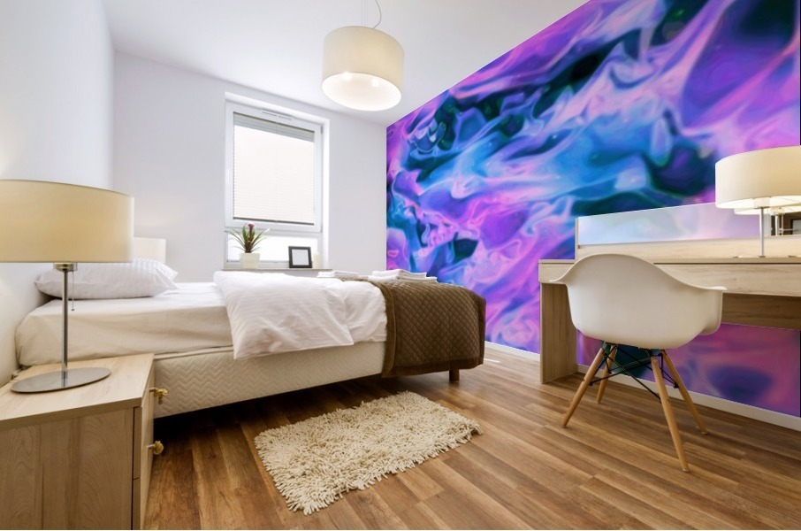 Purple Ice - purple blue abstract swirl wall art Mural print