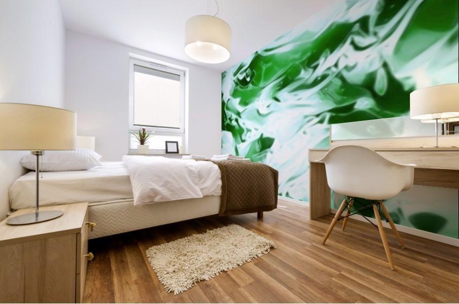 Clover - green white abstract swirl wall art Mural print
