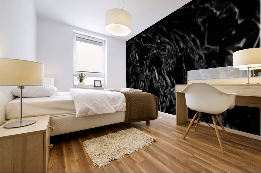 Infinite - black white gradient polygons swirls large abstract wall art Mural print