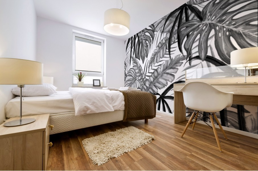 drawing leaves nature picture Mural print