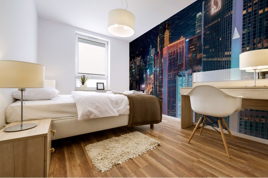 high rise buildings with lights Mural print