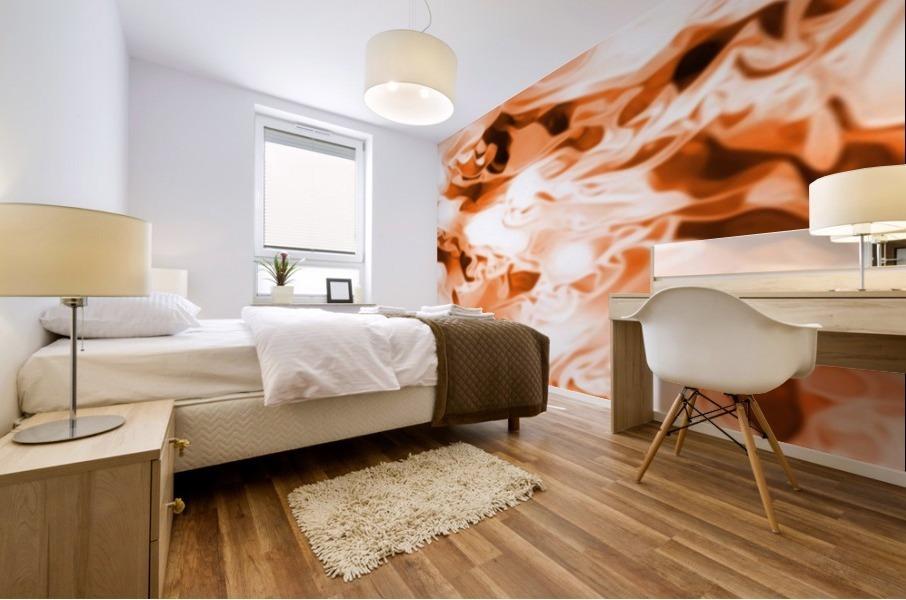 Orange Cream - orange black white swirls abstract wall art Mural print