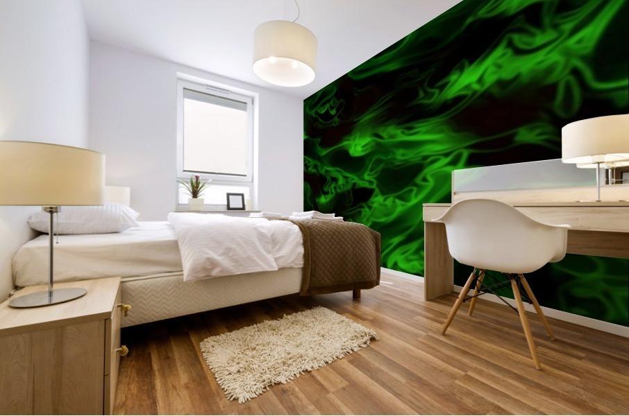 Green Plasma - green black swirls large abstract wall art Mural print