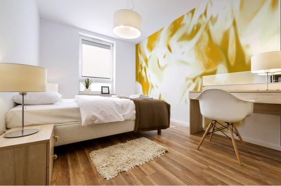 Abundant Aura - white gold swirls abstract wall art Mural print