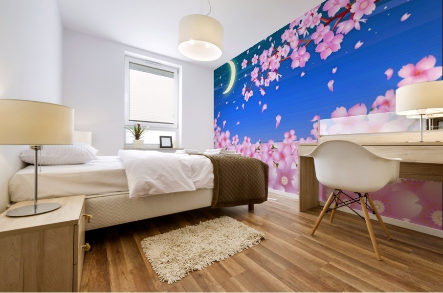 sakura cherry blossom night moon Mural print