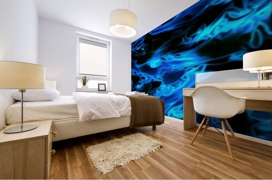 True Lightning - blue white black swirls abstract wall art Mural print