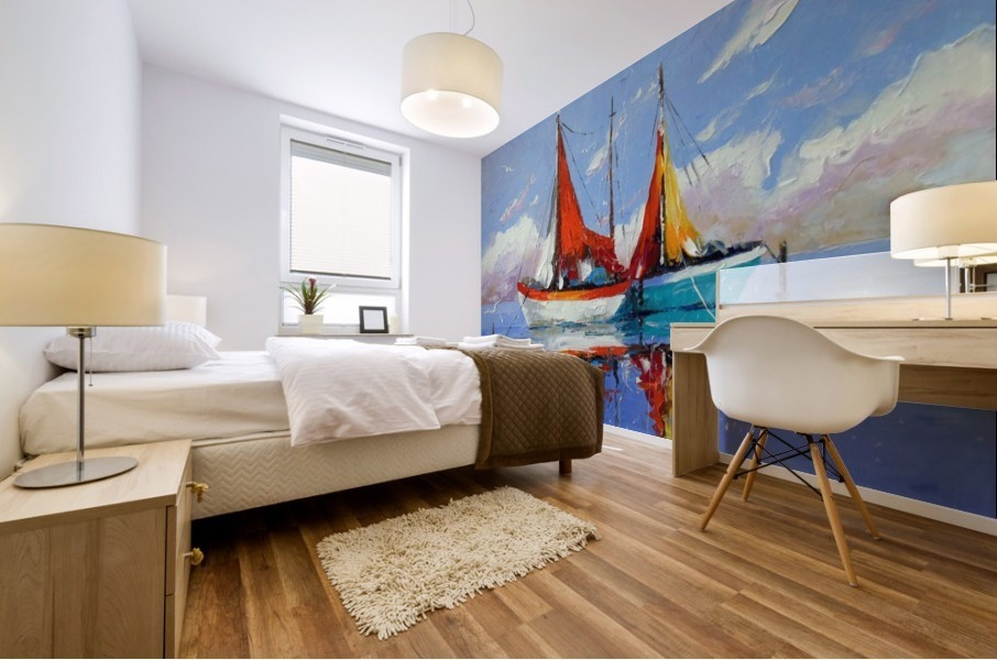 Sailboats in the sea Mural print