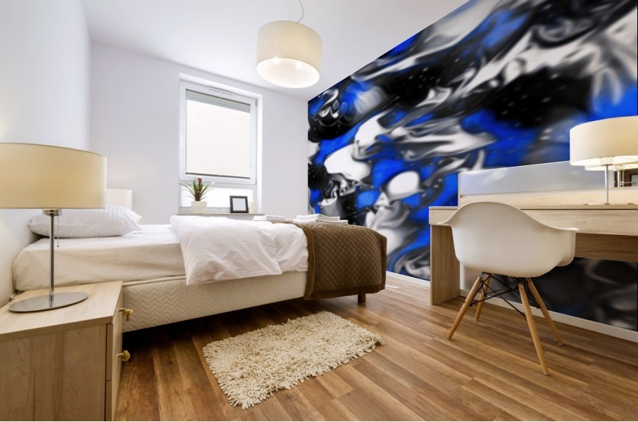 Booster - blue white black silver spots swirls abstract wall art Mural print