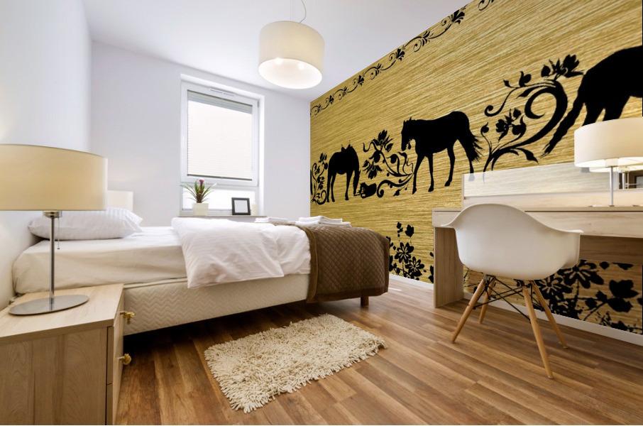 Gold illustration for interior decoration 2 Mural print
