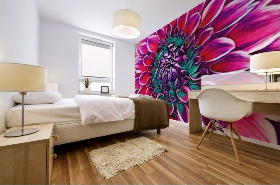 Red flower and Green Mural print