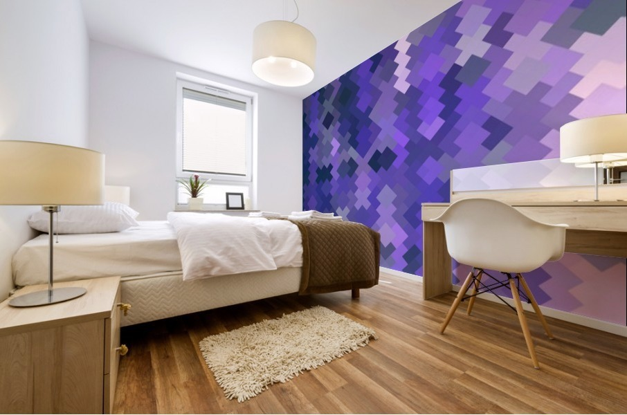 geometric square pixel pattern abstract in purple Mural print