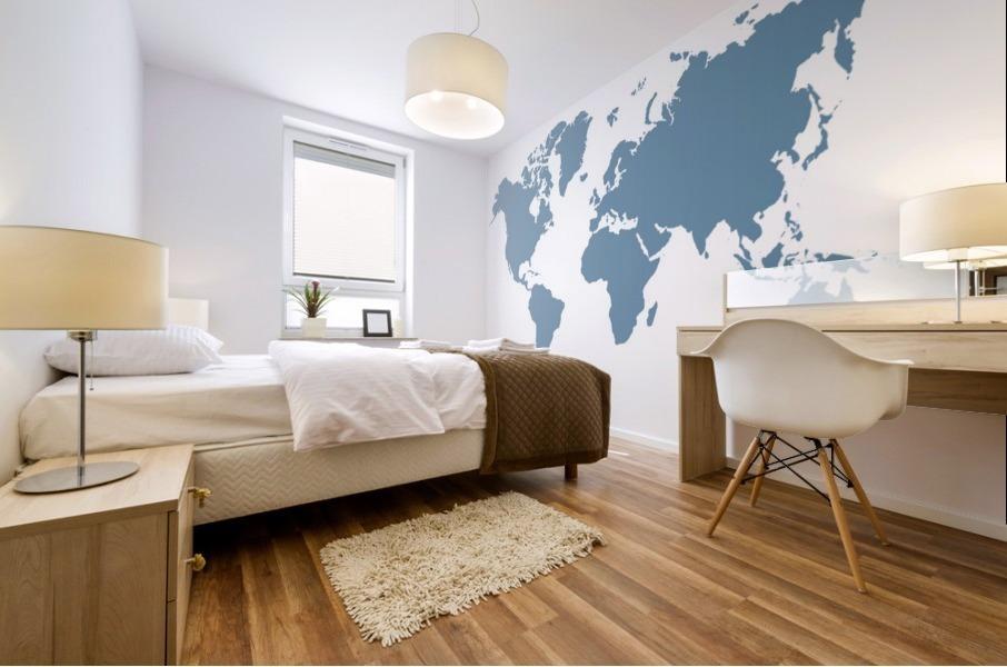 GREY WORLD MAP Mural print