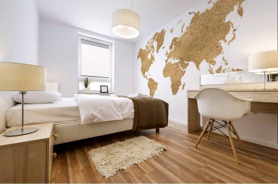 GOLD GLITTER WORLD MAP Mural print