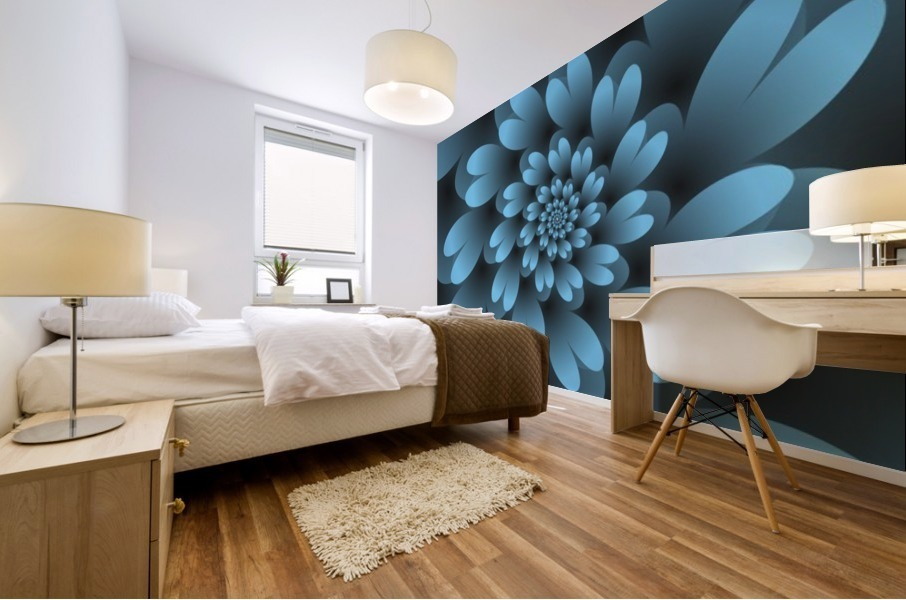 Blue Floral Satin Wallpaper Mural print