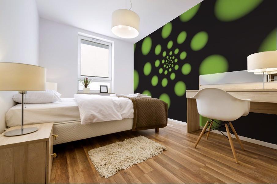 Green Spiral Dots Mural print