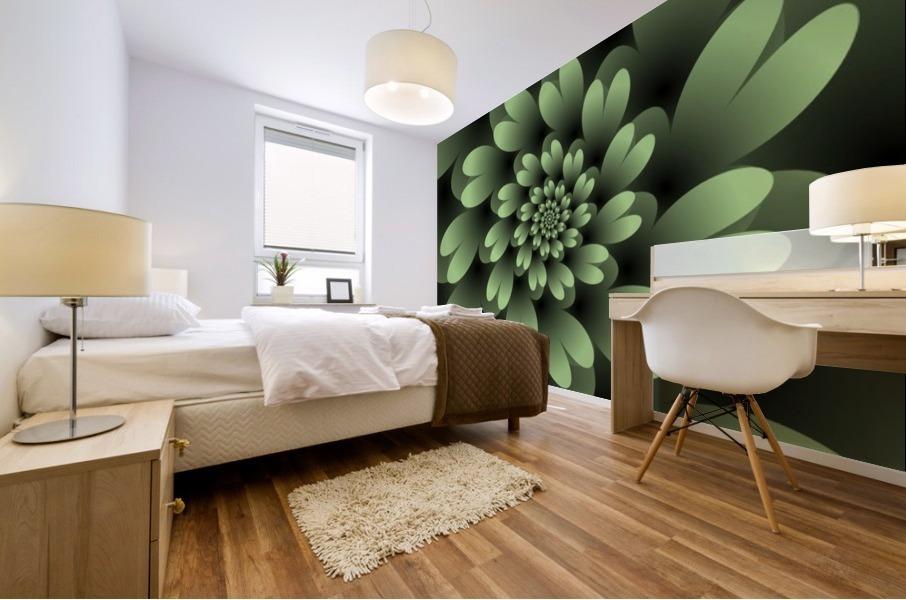 Green Floral Satin Wallpaper Mural print