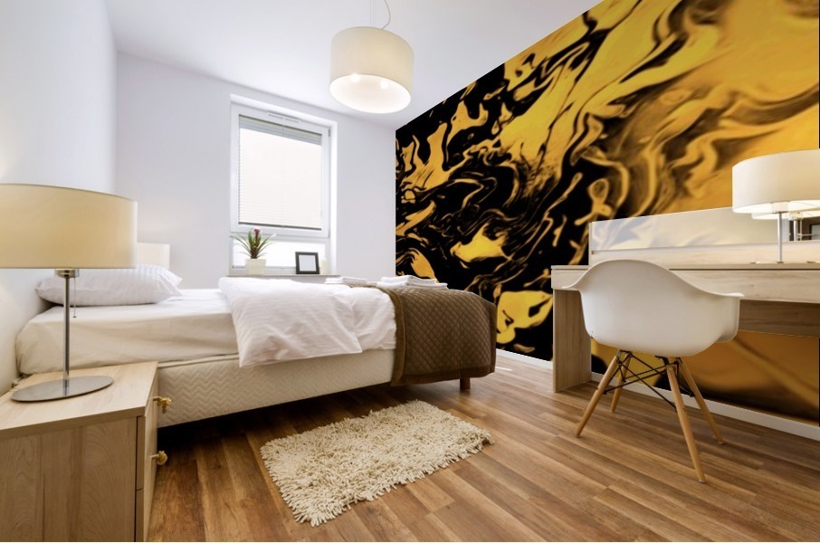 Richer fusion - gold and black gradient abstract wall art Mural print