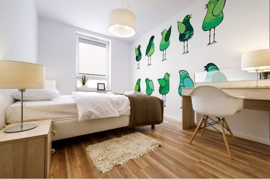 Gossip Birds Green Mural print