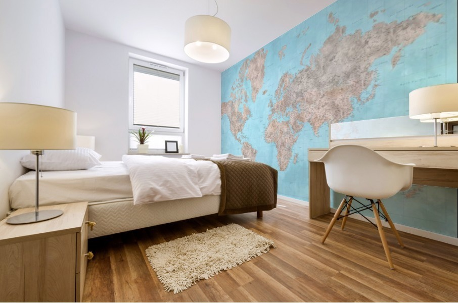 highly detailed watercolor world map in neutrals and light blue Mural print