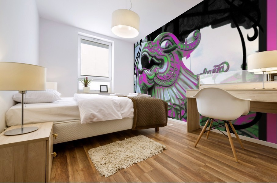 Carnival Creature in Purple & Green Mural print