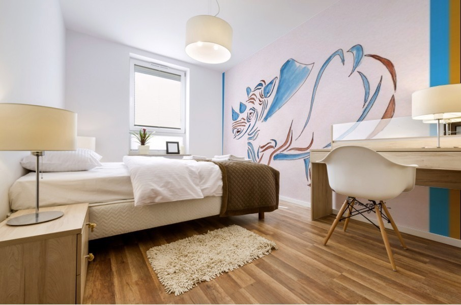 Do Rhinos Come in Blue Mural print