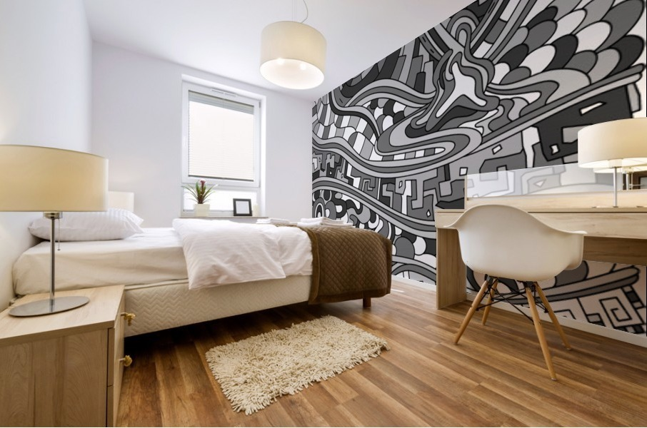 Wandering Abstract Line Art 03: Grayscale Mural print