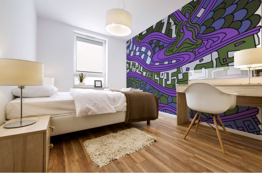 Wandering Abstract Line Art 03: Purple Mural print
